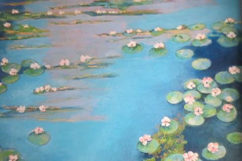 Une belle toile à la manière de Monet de 110 sur 100 cm